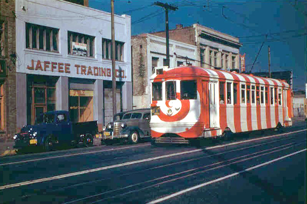 A Los Angeles streetcar painted in a candy cane pattern. Courtesy of the Metro Transportation Library and Archive. Used under a Creative Commons license.