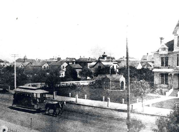 A City Railroad horsecar proceeds down Olive Street at Tenth Street in 1885. Courtesy of the Metro Transportation Library and Archive.