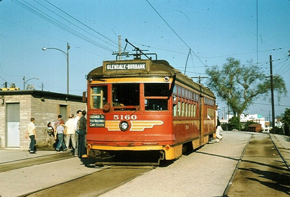 The last Pacific Electric car to service Burbank arrived in 1955. Photo by Alan K. Weeks, courtesy of the Metro Transportation Library and Archive. Used under a Creative Commons license.