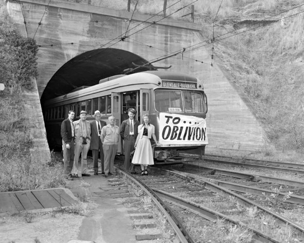 A Pacific Electric car destined for oblivion waits at the west portal to the subway on the line's last day of service, June, 19 1955. Courtesy of the Metro Transportation Library and Archive. Used under a Creative Commons license (CC BY-NC-SA 2.0).