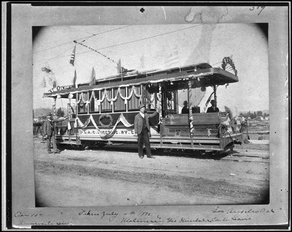 In 1892, the Los Angeles Cable Railway decorated one of its cable cars to celebrate the July 4 holiday. Courtesy of the Metro Transportation Library and Archive.