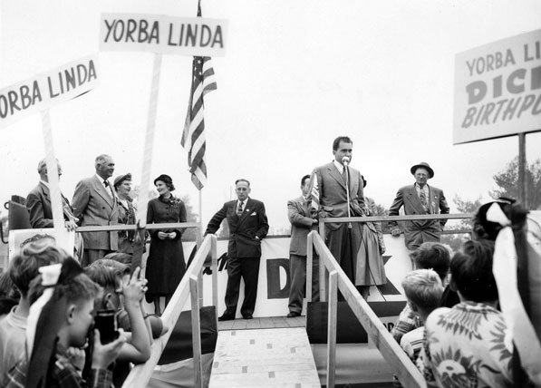 Nixon returns to his hometown of Yorba Linda in 1952 to campaign for the Republican ticket. Courtesy of the Orange County Archives.