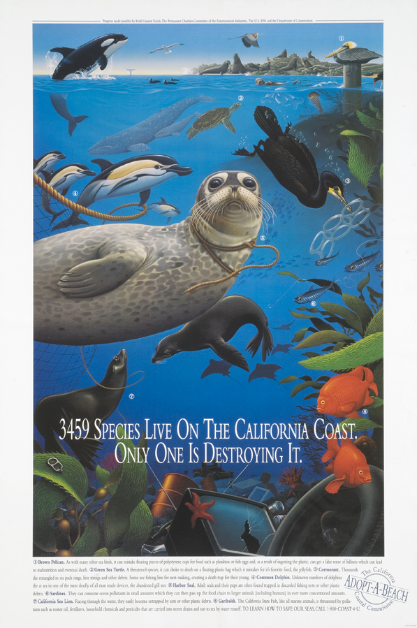 "18845, ""3459 Species Live on the California Coast"", © Robert Giusti, Offset, circa 2005, California. Courtesy of the Center for the Study of Political Graphics www.politicalgraphics.org"