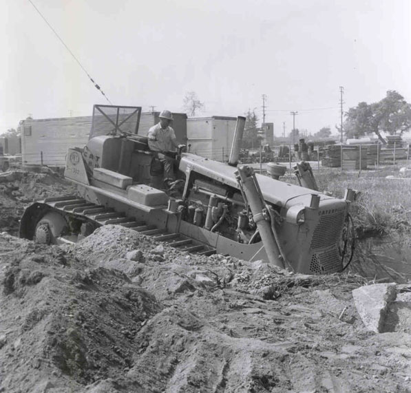 A bulldozer doing earthwork for the construction of the Foothill Freeway through Arcadia, circa 1966. ID 953. Courtesy of the Arcadia Public Library.