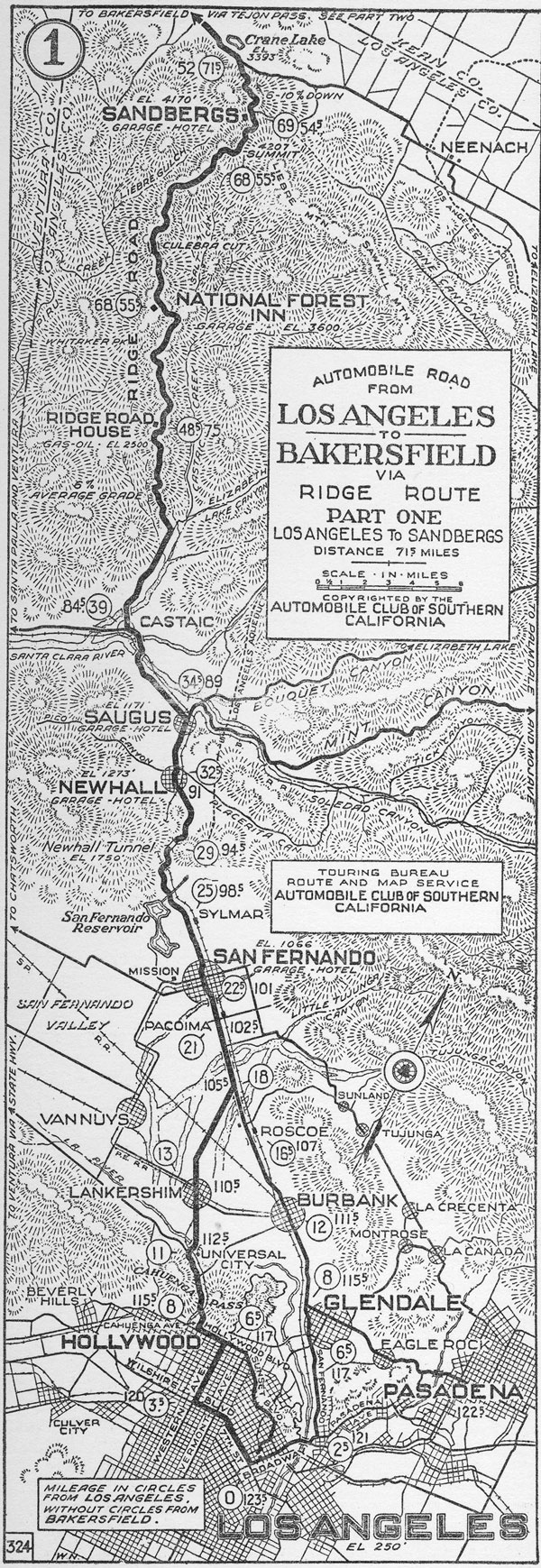 1924 Auto Club map of the Ridge Route. Courtesy of the Automobile Club of Southern California Archives and accessible through the USC Digital Library.