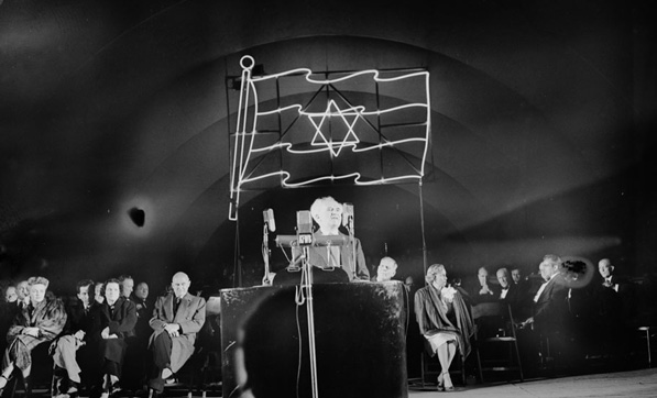 In 1951, the Hollywood Bowl welcomed Israeli Prime Minister David Ben-Gurion. Courtesy of the Los Angeles Examiner Collection, USC Libraries.