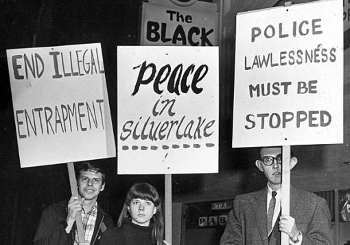 Protesters outside the Black Cat Bar in February 1967. Courtesy of the ONE National Gay and Lesbian Archives.