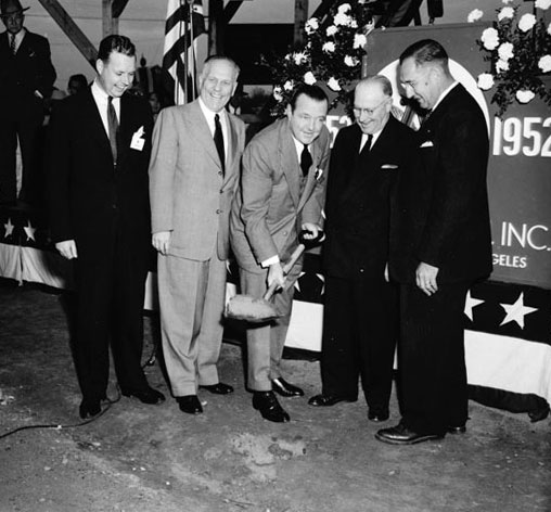 August A. 'Gussie' Busch breaks ground for Anheuser-Busch's new Van Nuys brewery in December 1952. Courtesy of the Title Insurance and Trust / C.C. Pierce Photography Collection, USC Libraries.