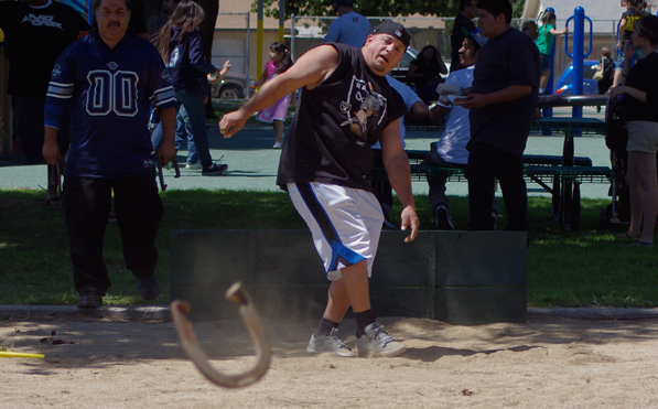 Horseshoe competition at the sports-themed Cinco De Mayo celebration held in Casa Blanca.