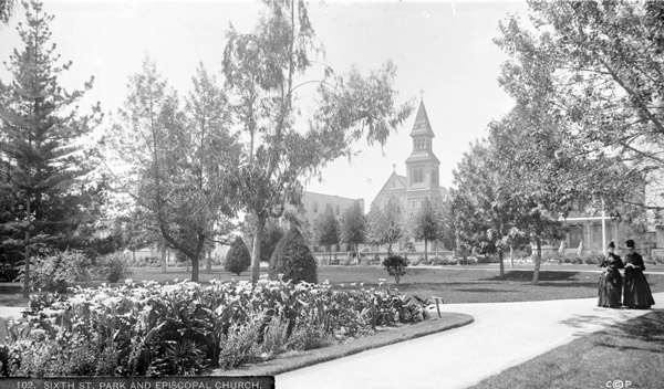 Circa 1888 view of Sixth Street Park. Courtesy of the Title Insurance and Trust / C.C. Pierce Photography Collection, USC Libraries.