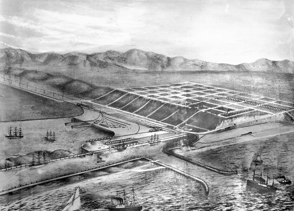 Artist's rendering of Port Ballona, a harbor that the Santa Fe Railroad planned to build at Ballona Lagoon in the 1880s. Courtesy of the Title Insurance and Trust / C.C. Pierce Photography Collection, USC Libraries.