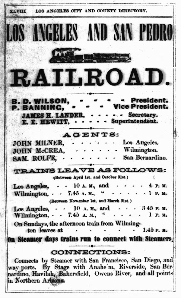 1869 advertisement for the Los Angeles & San Pedro Railroad. Courtesy of the California Historical Society Collection, USC Libraries.
