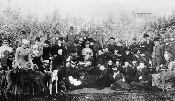 Valley Hunt Club members lounge with their hounds after a hunt, circa 1889. Photo courtesy of the California Historical Society Collection, USC Libraries.
