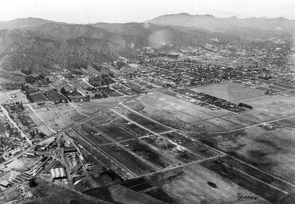 Aerial view of Sherman in 1922. The original settlement of Sherman is visible along the left edge of the photo, next to the rail yard. Hollywood is visible on the far right. Courtesy of the California Historical Society Collection, USC Libraries.