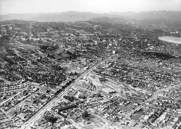 Aerial view of the town, by then renamed West Hollywood, just nine years later . Courtesy of the California Historical Society Collection, USC Libraries.