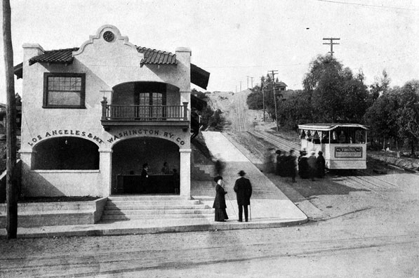 1910 view of the railway's terminus at Marmion Way. Courtesy of the California Historical Society Collection, USC Libraries.