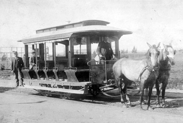 A two-horse City-Central streetcar, circa 1886. Courtesy of the California Historical Society Collection, USC Libraries.