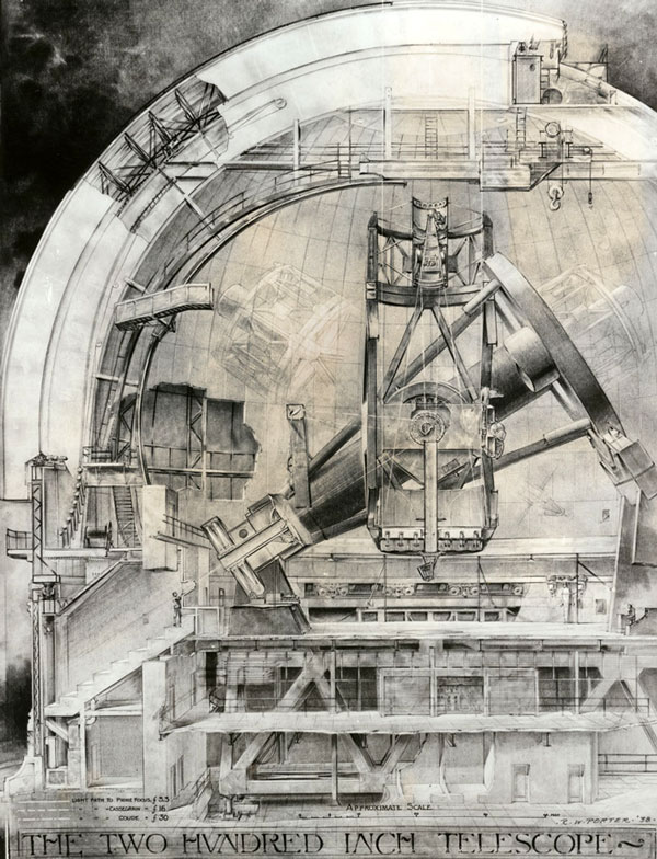 1938 drawing by R. W. Porter of the Palomar Observatory's 200-inch telescope, then under construction. Courtesy of the Los Angeles Area Chamber of Commerce Collection, USC Libraries.