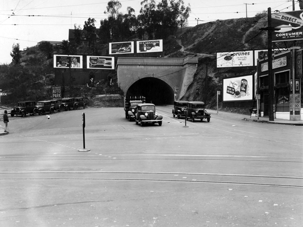 1935 view of the northern portal to the Broadway tunnel, near the intersection of Broadway and Sunset. Courtesy of the California Historical Society Collection, USC Libraries.