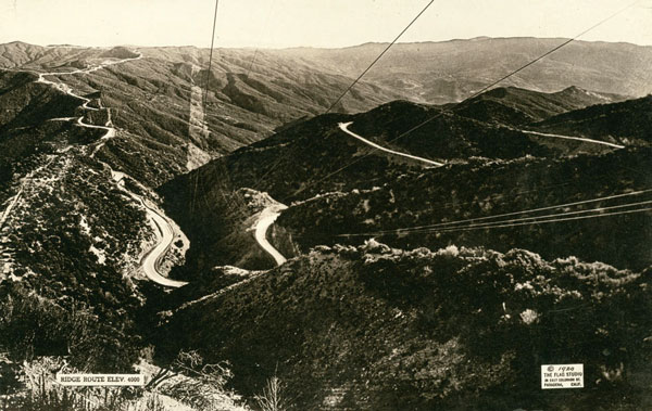 1920 view of the Ridge Route. Courtesy of the Los Angeles Area Chamber of Commerce Collection, USC Libraries.