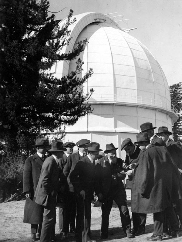 Astronomers gather outside the Mount Wilson Observatory, circa 1920. Courtesy of the Los Angeles Area Chamber of Commerce Collection, USC Libraries.