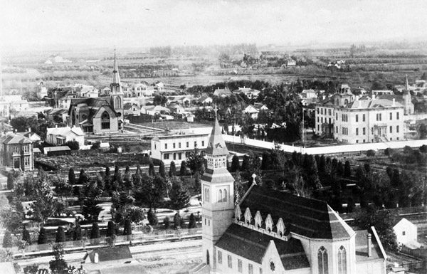 Circa 1883 view of Sixth Street Park. Courtesy of the Title Insurance and Trust / C.C. Pierce Photography Collection, USC Libraries.
