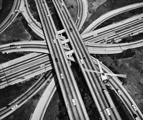 The Four Level interchange as seen from above in 1959. Courtesy of the California Historical Society Collection, USC Libraries.