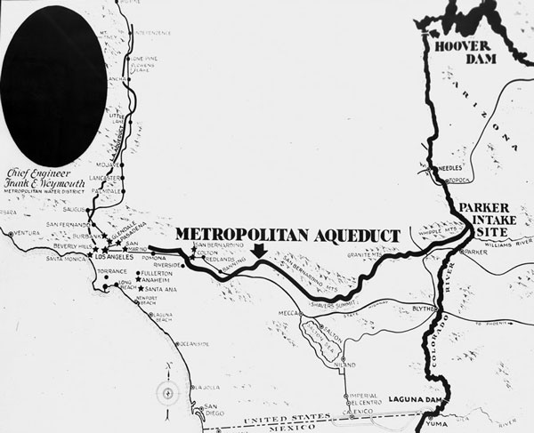 1931 map showing the planned route of the Metropolitan Water District's Colorado River Aqueduct. The 240-mile aqueduct opened in 1939. Courtesy of the Los Angeles Area Chamber of Commerce Collection, USC Libraries.