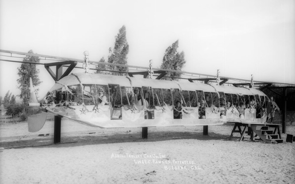 'Fawkes' Folly,' an experimental monorail that operated briefly in Burbank in 1911. Courtesy of the Title Insurance and Trust / C.C. Pierce Photography Collection, USC Libraries.