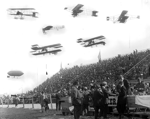 In 1910, Dominguez Field hosted the first air meet in the United States. Composite photograph courtesy of the Title Insurance and Trust / C.C. Pierce Photography Collection, USC Libraries.