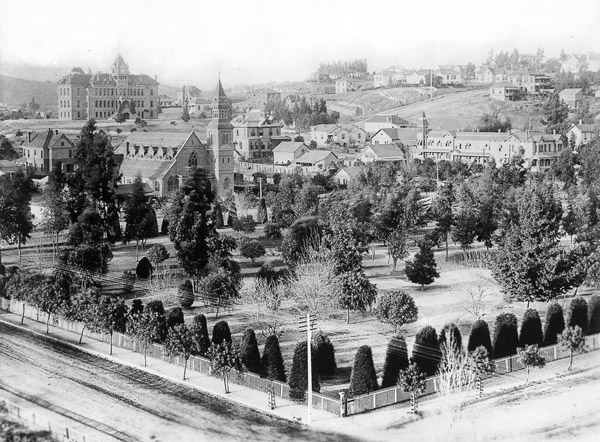 Circa 1885 view of Pershing Square, then called Sixth Street Park and later Central Park. Courtesy of the Title Insurance and Trust / C.C. Pierce Photography Collection, USC Libraries.