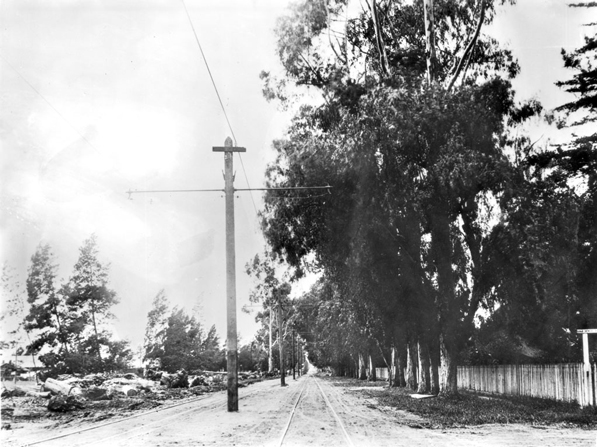 The tracks of the Pasadena and Pacific and future route of Santa Monica Boulevard east of Sherman, circa 1905. Courtesy of the Title Insurance and Trust / C.C. Pierce Photography Collection, USC Libraries.