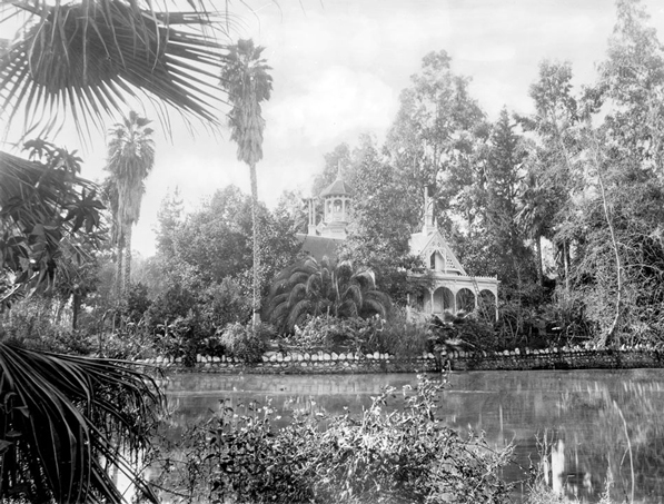Elias J. (Lucky) Baldwin's gardens in Arcadia teemed with palms. Baldwin's estate is today the Los Angeles County Arboretum. Courtesy of the Title Insurance and Trust / C.C. Pierce Photography Collection, USC Libraries.