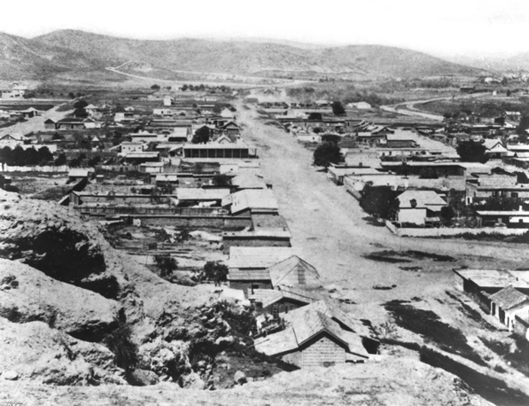 Circa 1869 view of Sonoratown from the summit of Fort Moore Hill. Courtesy of the Title Insurance and Trust / C.C. Pierce Photography Collection, USC Libraries.