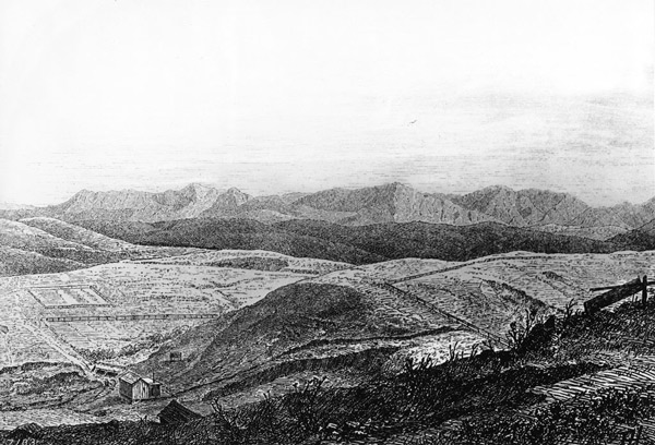 An 1870 drawing of the lands that would later comprise Elysian Park. Courtesy of the USC Libraries - California Historical Society Collection.