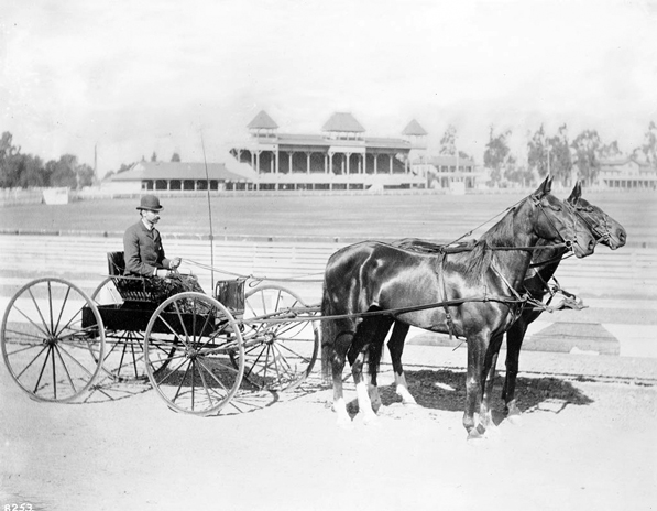 A Los Angeles Police Department captain on the Agricultural Park racetrack, 1895. Courtesy of the Title Insurance and Trust / C.C. Pierce Photography Collection, USC Libraries.