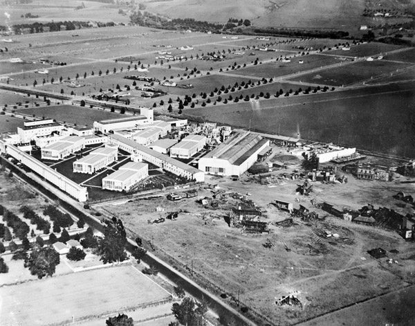 1919 aerial view of the Sony Picture Studios, then named the Goldwyn Studios. Courtesy of the Title Insurance and Trust / C.C. Pierce Photography Collection, USC Libraries.