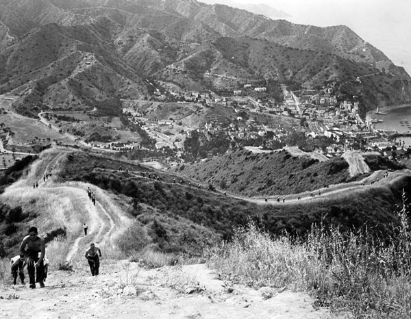 U.S. Maritime Service recruits running up the island's steep fire breaks. Courtesy of the Catalina Island Museum.