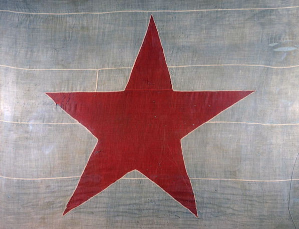 The 1836 Alvarado flag, possibly the oldest surviving flag of California. Courtesy of the Southwest Museum of the American Indian Collection, Autry National Center of the American West. 8.P.1.