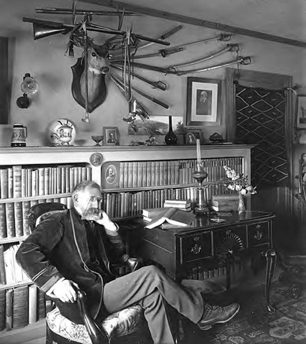Charles Francis Holder wears a velvet smoking jacket in this 1910 portrait, taken inside the naturalist and Valley Hunt Club founder's study. Photo courtesy of the Pasadena Public Library.