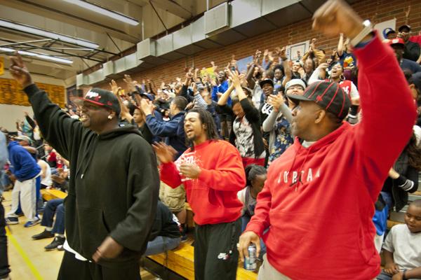 Fans cheering Tatyana Calhoun | Photograph by Douglas McCulloh
