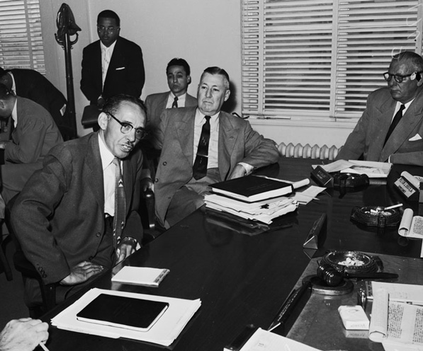 Civil rights attorney speaking at a 1954 L.A. County Fire Commission discussion about racial segregation. Courtesy of the USC Libraries' Los Angeles Examiner Collection