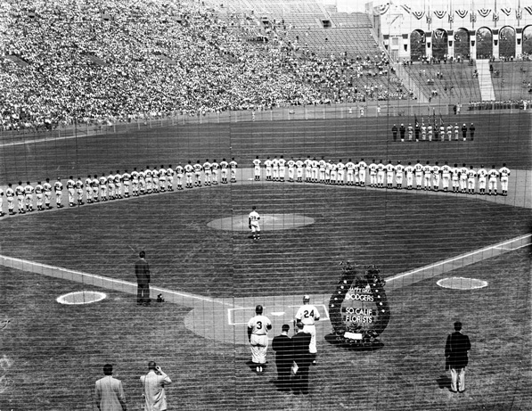 The Los Angeles Dodgers host the San Francisco Giants on Opening Day, 1958, inside the Los Angeles Memorial Coliseum. Courtesy of the USC Libraries' Los Angeles Examiner Collection.