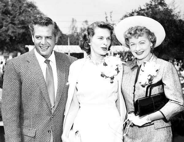 Desi Arnaz and Lucille Ball, co-owners of Desilu Productions, served as honorary mayors of Culver City in 1958. Here they pose with the real mayor, Mary Louise Richardson. Courtesy of the Los Angeles Examiner Collection, USC Libraries.