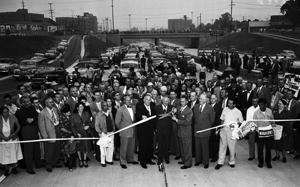 Lieutenant Governor Goodwin Knight helps open a segment of the Hollywood Freeway between Silver Lake Boulevard and Western Avenue in 1951. Courtesy of the Los Angeles Examiner Collection, USC Libraries.
