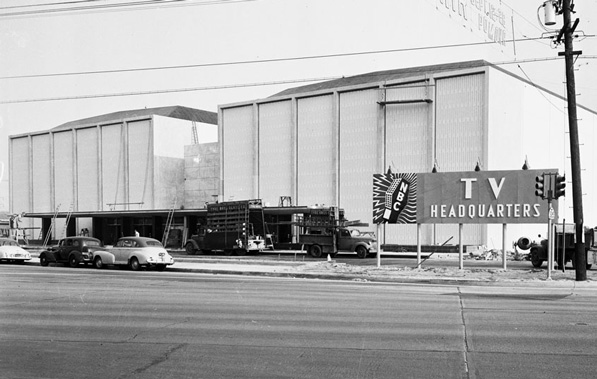 NBC television studios in Burbank, 1952.  Since NBC's corporate merger with Universal, the network has announced a relocation of its production facilities to nearby Universal City. Courtesy of the Los Angeles Examiner Collection, USC Libraries.