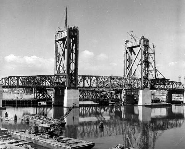 The Commodore Schuyler F. Heim drawbridge prior to its New Year's Day 1948 opening. Courtesy of the Los Angeles Examiner Collection, USC Libraries.