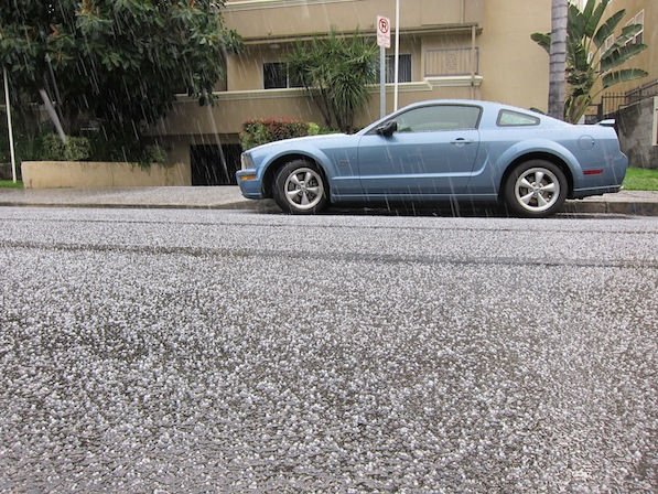 Hail falling on a side street in Studio City | Photo by Zach Behrens/KCET