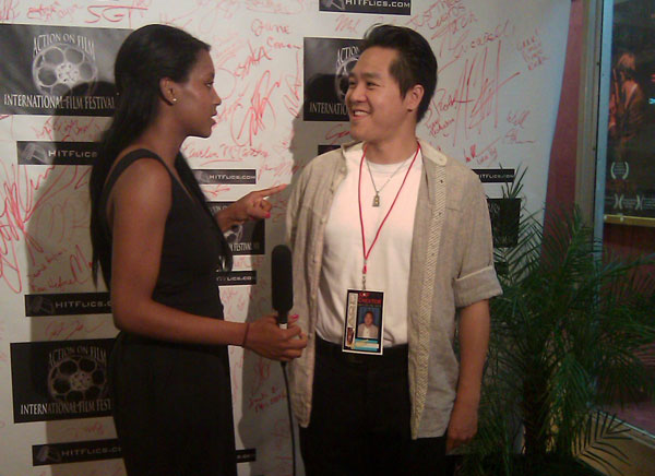 Justin being interviewed at the Action on Film International Film Festival in Pasadena, CA on July 2011. His film 'Embers of the Sky' was nominated for Best Picture and Best Actress there. | Photo: Courtesy Justin Calen Chenn
