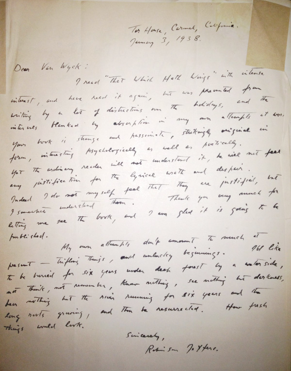 Handwritten letter from Jeffers to critic and translator William Van Wyck. Courtesy of the William Van Wyck Collection, USC Libraries.